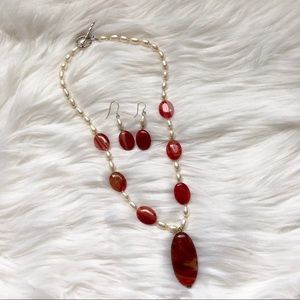 Red Stripe Agate Stone Set